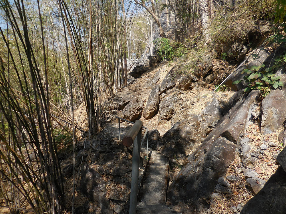 Just beyond the Hellfire Pass Memorial, the terrain, where the tracks used to be, is very rough and rocky