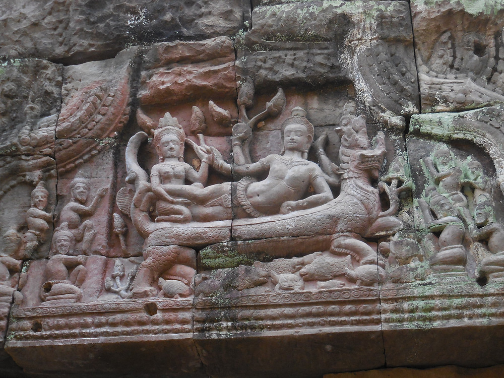 The bas-reliefs at Preah Khan have much detail as this one that's located above a doorway