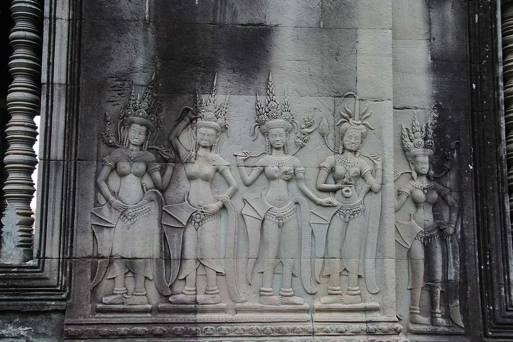 These bas-reliefs depict the Apsara dancers hundreds of years ago