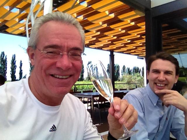 John tasting the sparkling wine at the Bodega Casarena