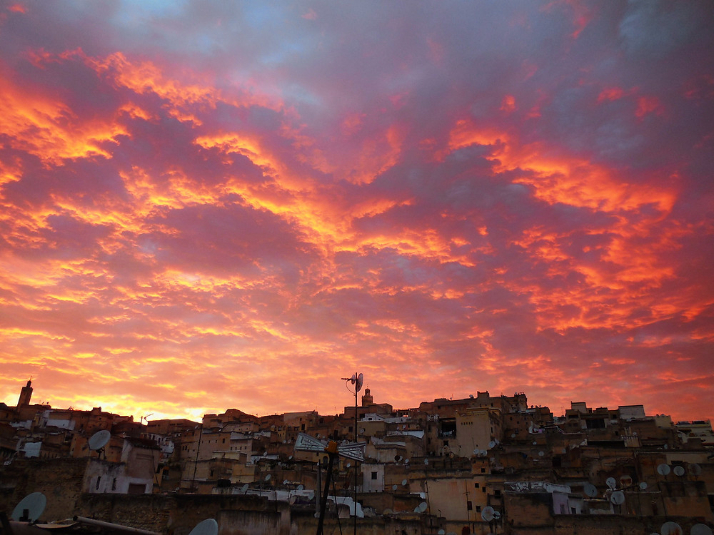 Sunset over the 9th century medina of Fes