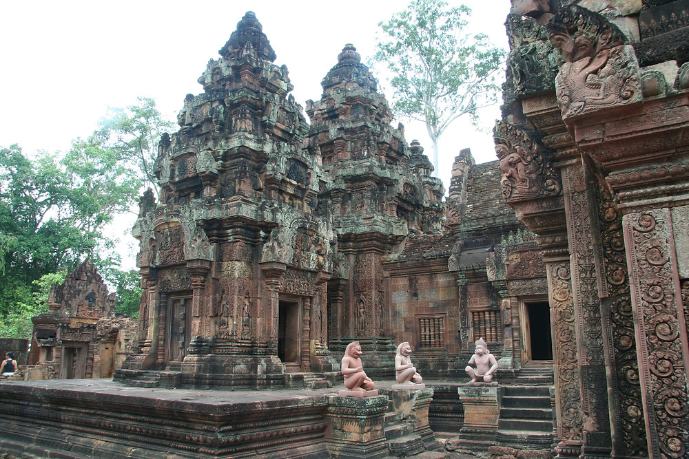With relatively few visitors at many times, Banteay Srei is a nice, well-restored temple to walk through. Note there are many souvenir sellers set up before the entrance.