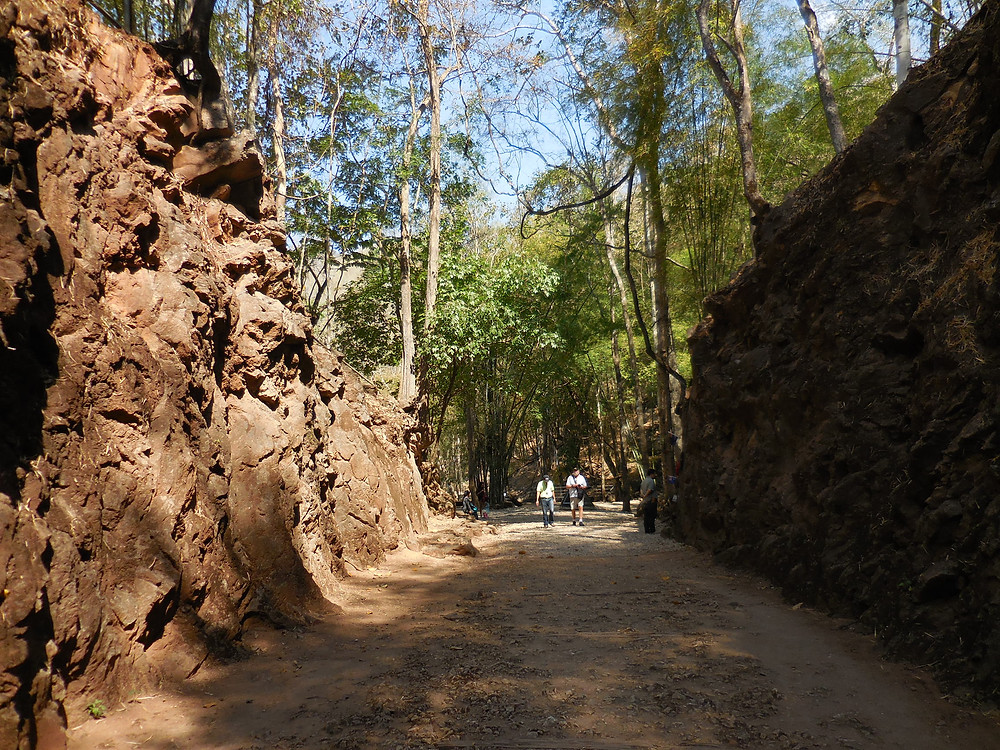 Approaching the end of Hellfire Pass where the memorials are located