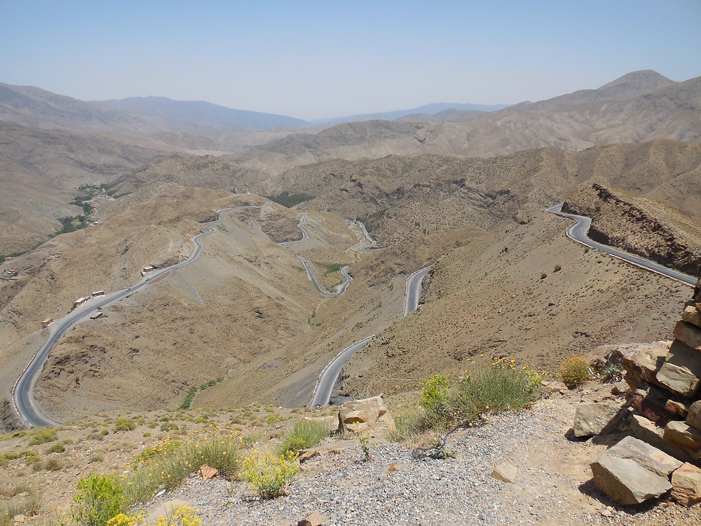 The road through the Tizi-n-Tichka Pass snakes its way up the mountainside