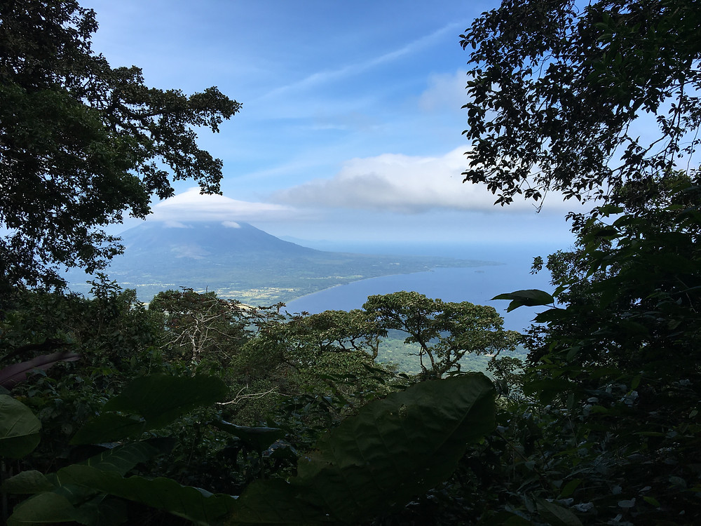 Looking out onto Lake Nicaragua and the active volcano Concepción