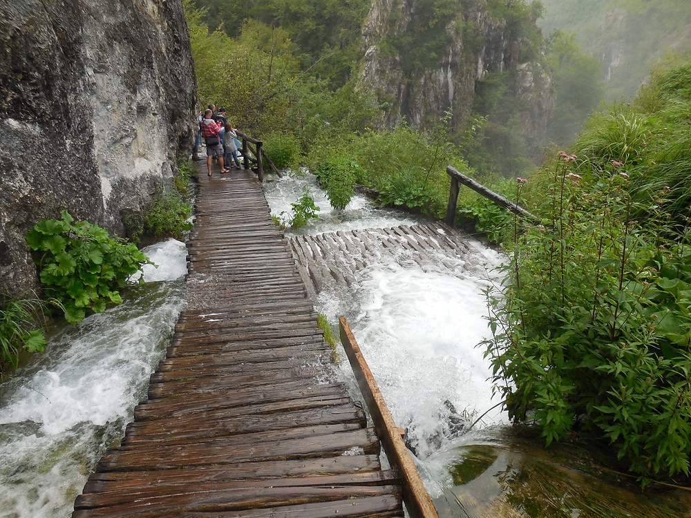 At the top of this waterfall, the water is cresting part of the wooden walkway. Amazing!