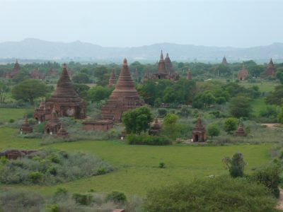 Stupas can be seen for miles from the top of Shwesandaw Pagoda