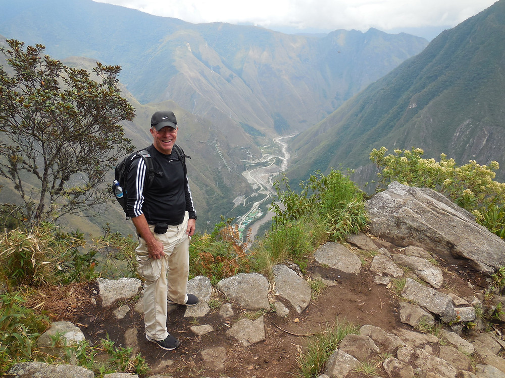 John on the trail up Machu Picchu Montana overlooking the Urubamba River