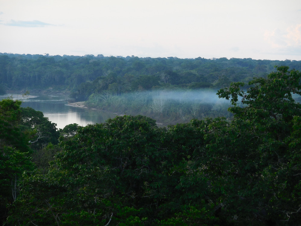 The view from the observation tower shows a thin fog over the river