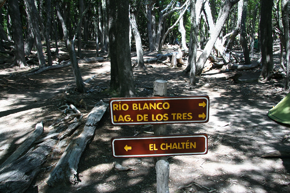 Signs guide the way to Laguna de los Tres