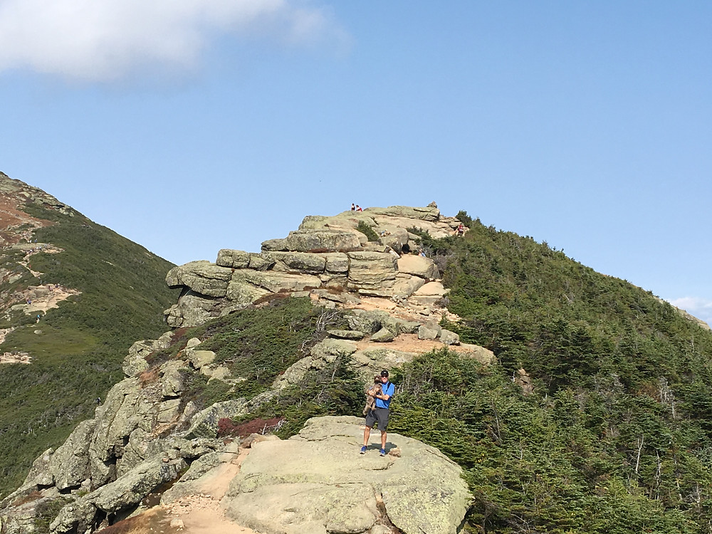 Lola and I are making our way to the top of Lincoln. Mt Lafayette is off to the left.