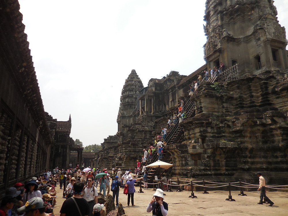 Crowds are heavy at Angkor Wat during the middle of the day