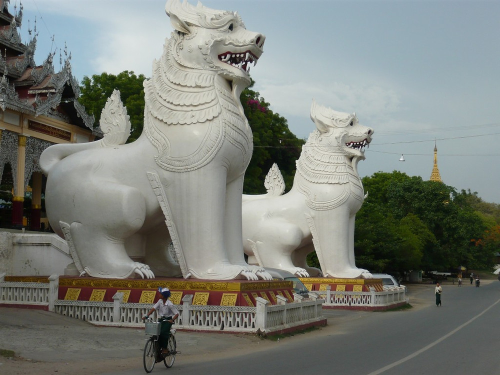 Giant Chinthes guarding Mandalay Hill