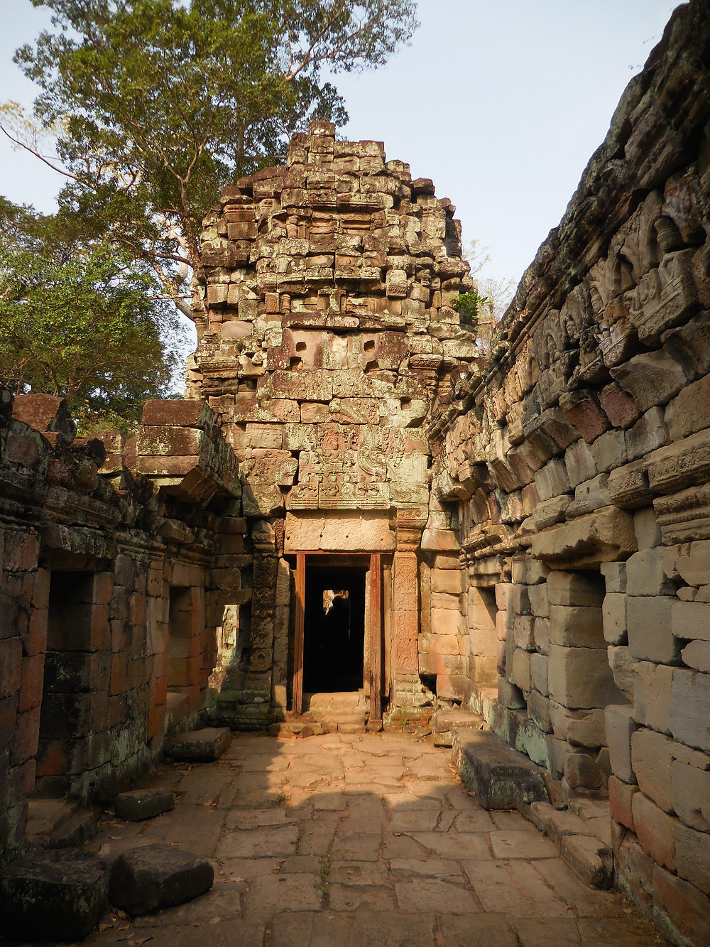 Inside the temple of Preah Khan in the early morning light