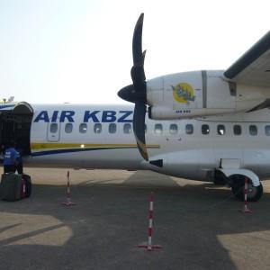 Air KBZ plane after landing at Nyaung U