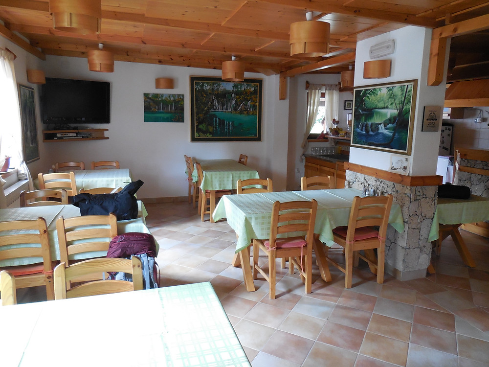 The dining area of the Plitvice Miric Inn. It's got that cabin feeling to it.