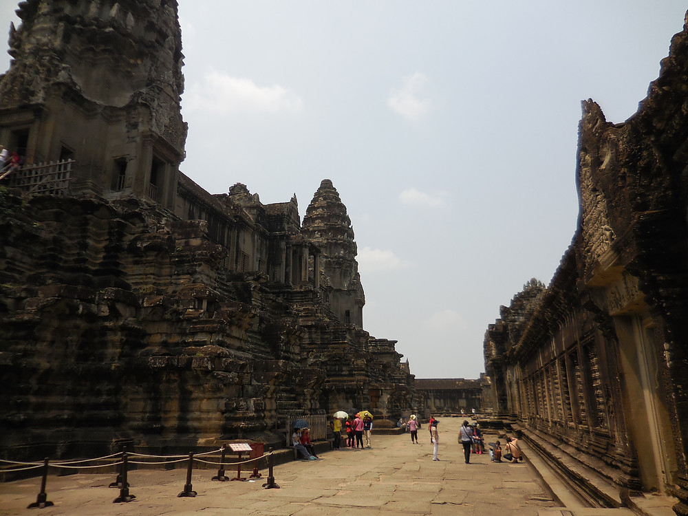 The main temple area at Angkor Wat during the middle of the day