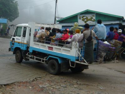 You must take a truck, like this one, to get from Kinpun Base Camp to Golden Rock