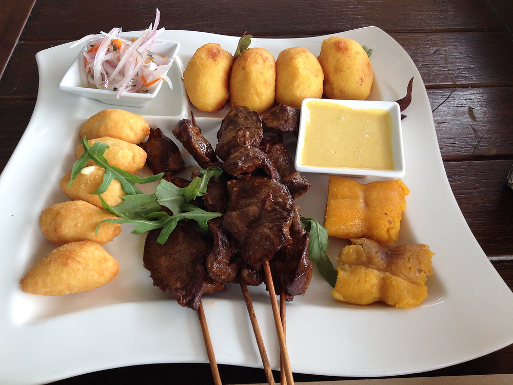 Anticuchos (marinated beef hearts) on the skewers at Mangos Restaurant in Miraflores
