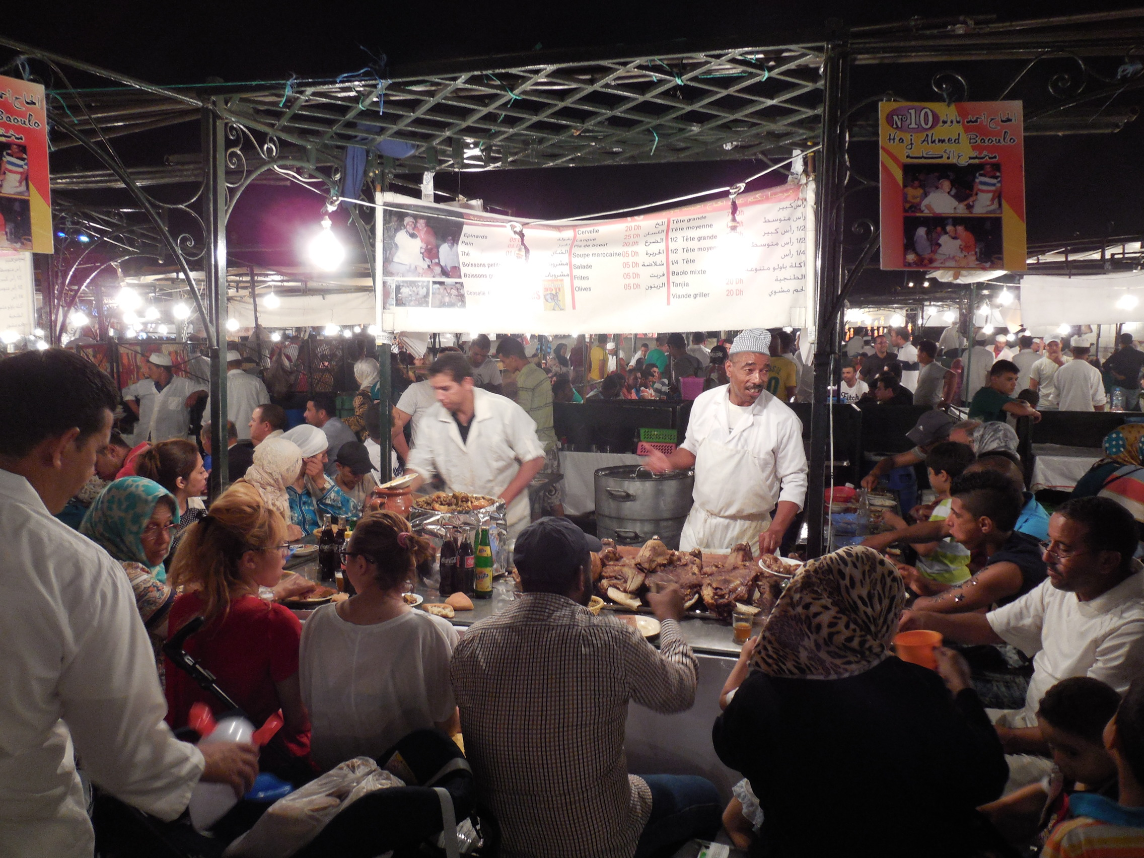 Jemaa el-Fna at night is packed