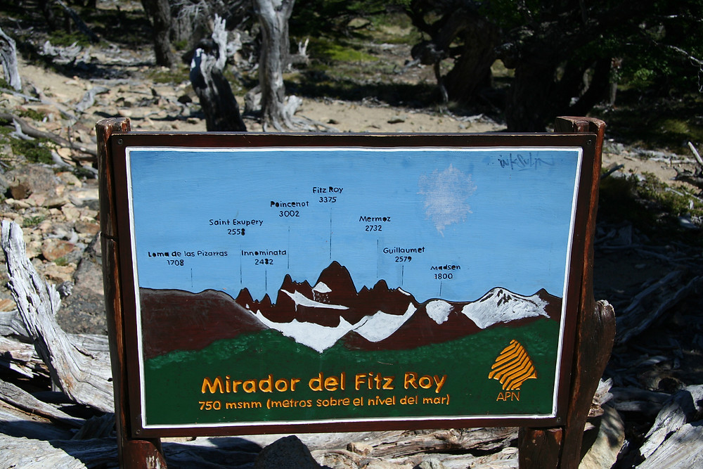 The sign at the Mirador del Fitz Roy shows the names of the different peaks