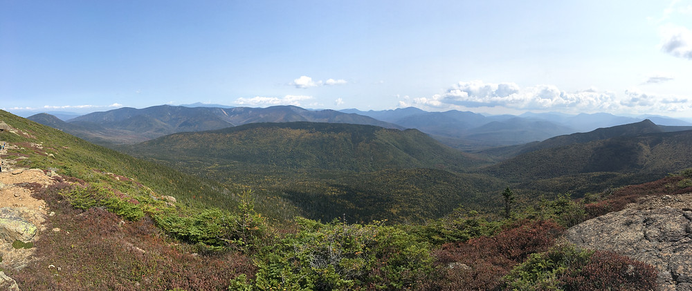 A panorama of the surrounding valleys