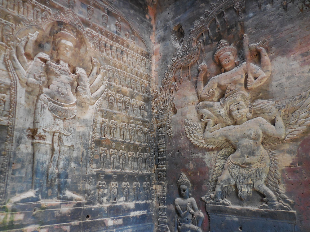 The bas-reliefs of Vishnu and Lakshmi are the only ones in brick in the Angkor area