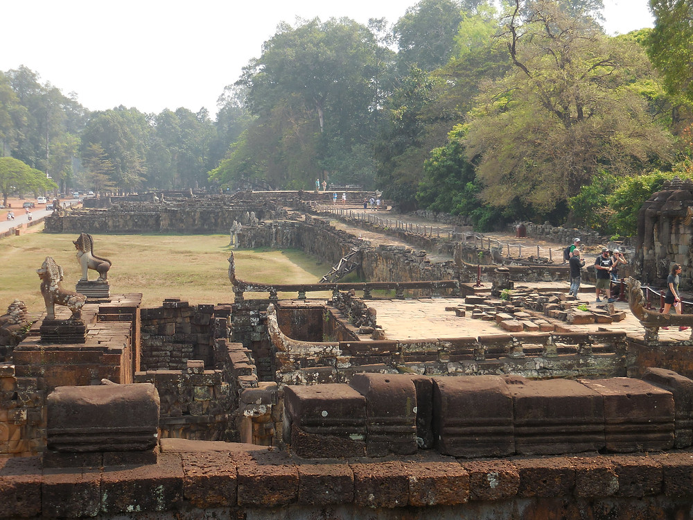 Terrace of the Leper King in the foreground and Terrace of the Elephants behind it