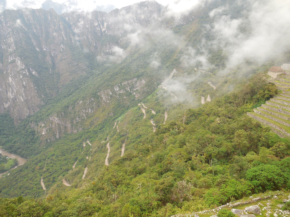 The switchbacks that the bus drives on can be seen ascending the mountain