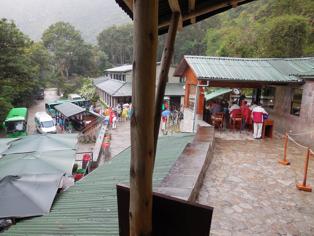Just past through the entrance to Machu Picchu. Below is the bus drop-off area and the Sanctuary Lodge