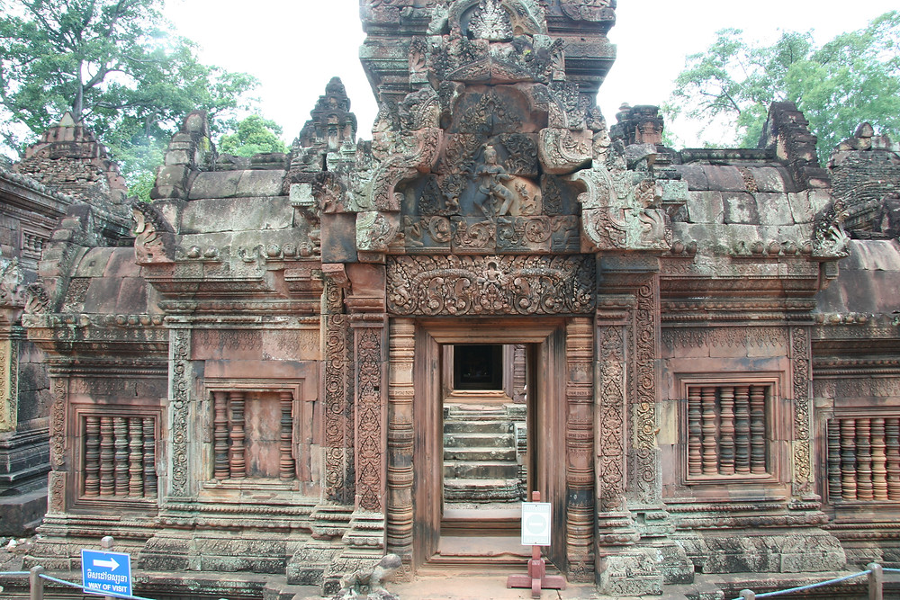 """Built largely of red sandstone, Banteay Srei has been called the """"jewel of Khmer art"""""""