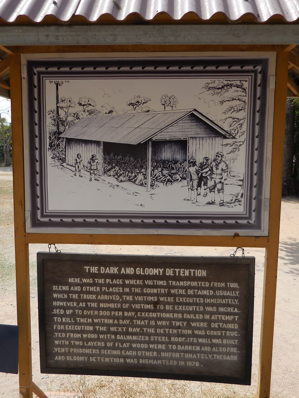 A sketch shows where the prisoners were temporarily detained at Choeung Ek