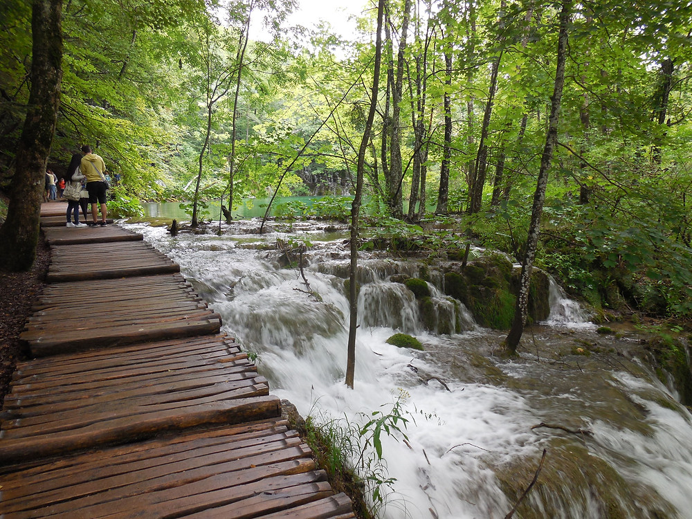 The cascading water runs right along the wooden pathways