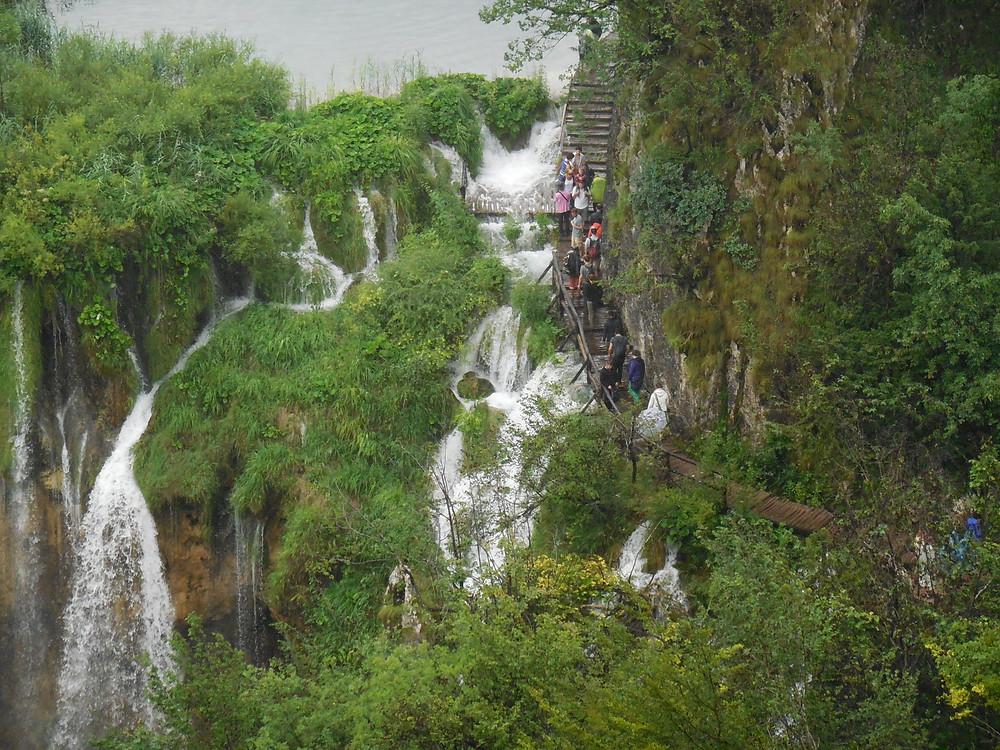 One of the walkways goes directly over the top of one of the higher falls