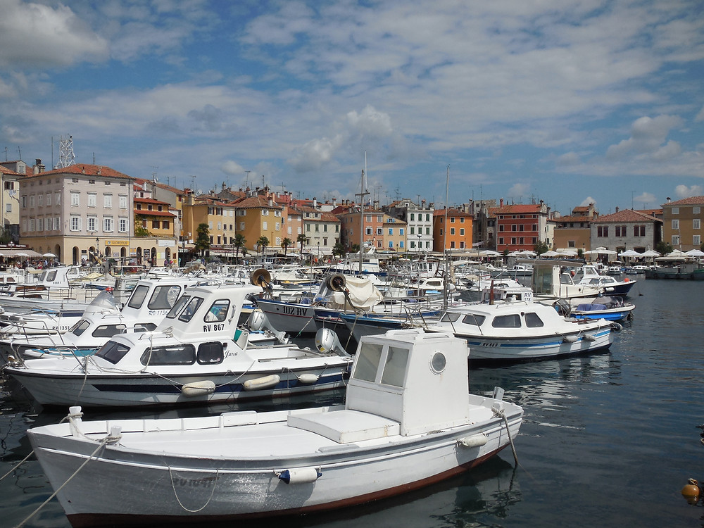 The harbor in Rovinj is packed with boats
