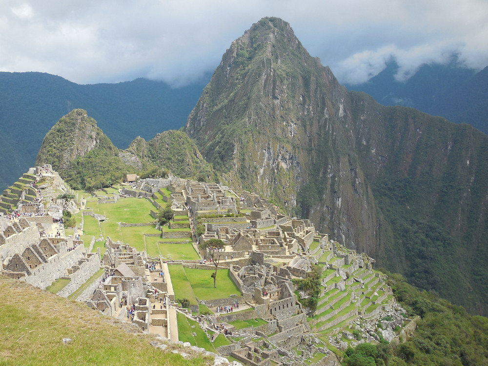 A full view of the Citadel (as it's known) with Huayna Picchu in the background