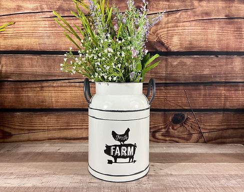 White Metal Fresh Farm Milk Can