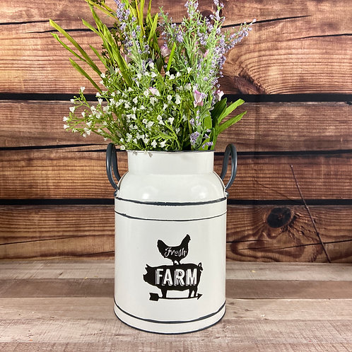 White Metal Fresh Farm Milk Can