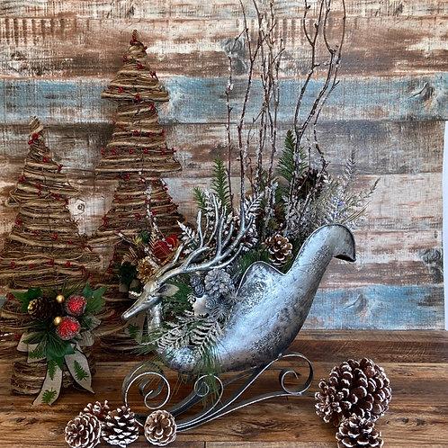 Elegant Reindeer Sleigh Arrangement