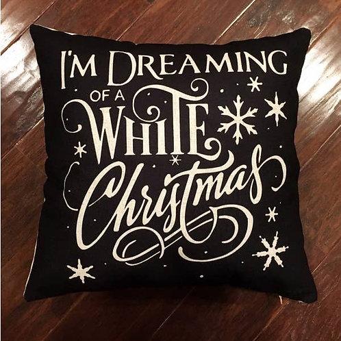 White Letter Christmas Pillow
