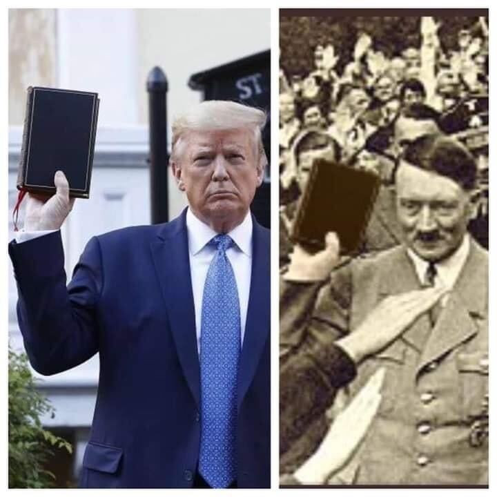 Side-by-side Comparison of Trump and Hitler with Bible