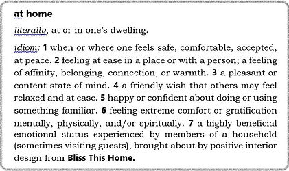 """definition of """"at home"""" from Bliss This Home, positive interior design"""