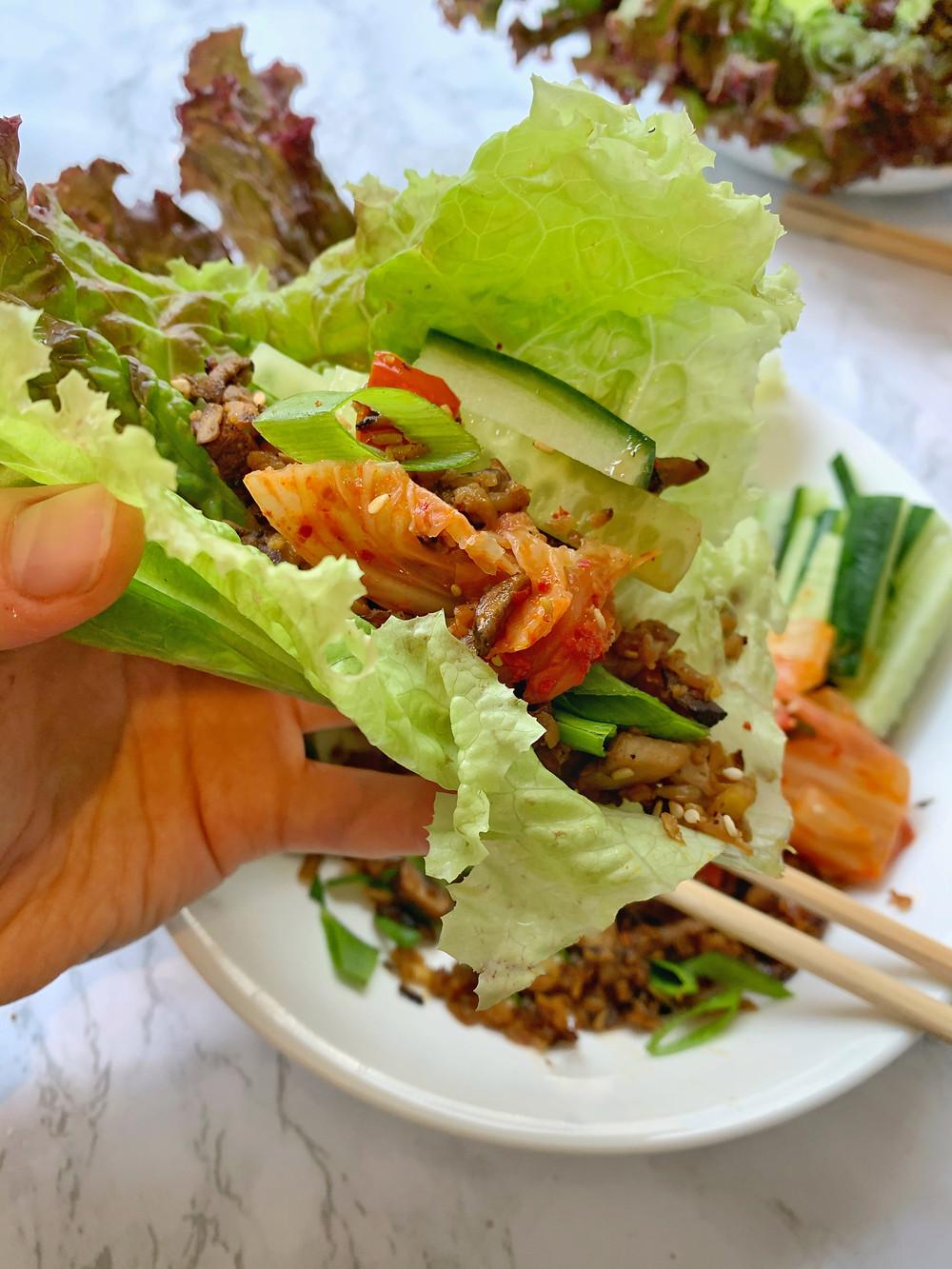 Mushroom Almond Lettuce Wraps