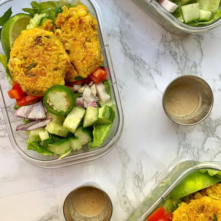 Vegan Southwest Corn Fritter Salad