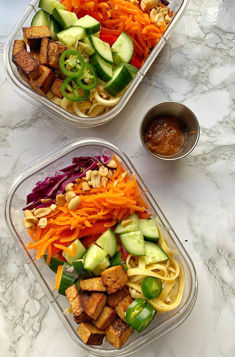 Lower Carb, Crunchy Peanut Noodle Salad