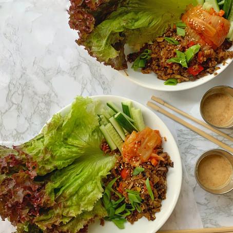 Mushroom Almond Lettuce Wraps (Vegan, GF)