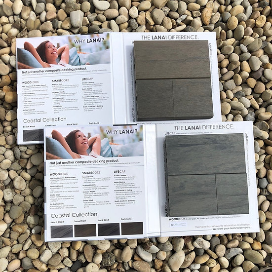 Two Decking Sample Booklets - Beach Wood and Sunset Palm