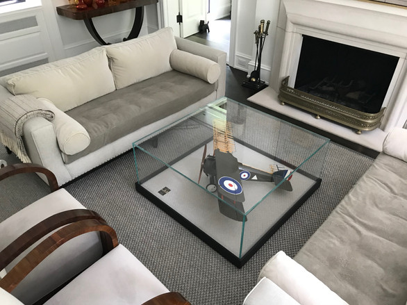 vitrine/coffee table, private residence.