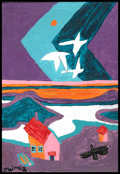 Fly Over (after Ted Harrison)
