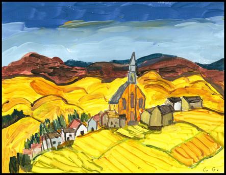 Quebec Village (after A.Lismer)
